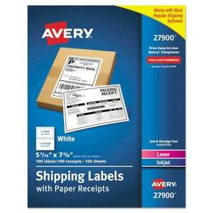 Avery Shipping Labels With Paper Receipt Bulk Pack 5 1 16 X 7 5 072782279004