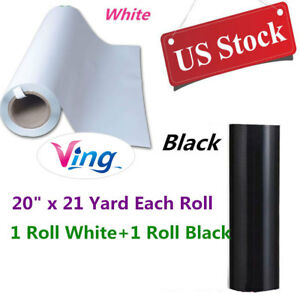 Us White Black Pvc Digital Heat Press Transfer Vinyl 20 X 21 Yard Each Roll