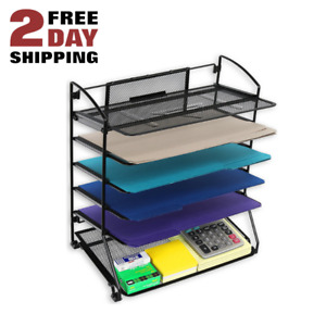 Mesh Office Desk Organizer All In One Tray With Drawers Desktop Shelves Black