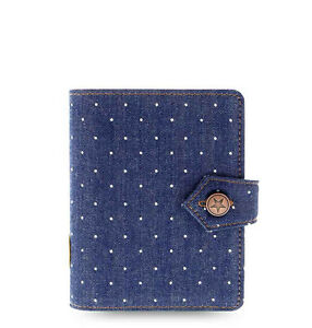 Students Filofax Pocket Size Denim Dots Organiser Planner Note Diary Indigo Gift