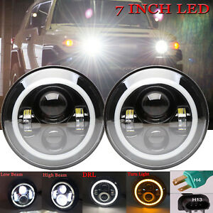 7 Inch Round Led Headlights With Halo Angle Eyes For Toyota Fj Cruiser 2007 14