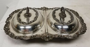 Antique Silver Plate Two Compartment Serving Dish Sheffield Silver On Copper