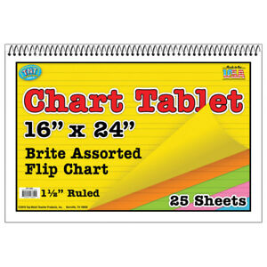Top Notch Teacher Chart Tablets 16x24 Assorted1 5in Ruled 3 Ea 3840