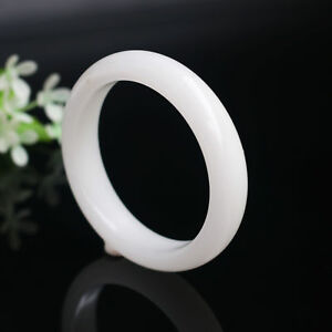 60mm 62mm Beautiful Natural Chinese White Jade Hand Carved Bracelet