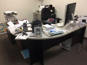 2 L shaped Used Office Desks With Matching File Cabinets