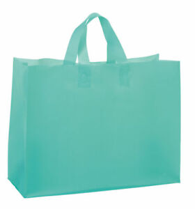Plastic Shopping Bags Frosty Aqua Blue Frosted 16 X 6 X 12 Vogue 50 Merchandise