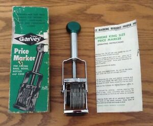 New Vintage Garvey S 43 Price Marker Original Box Supreme King Size Instructions