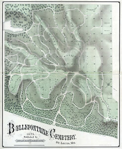 1875 Map Of Bellefontaine Cemetery St Louis Missouri