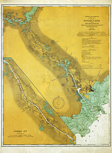 1914 Nautical Map Of The Panama Canal