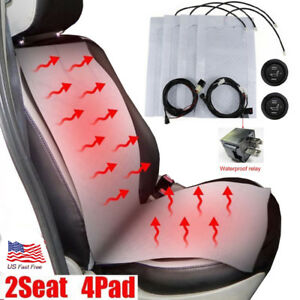 2 Seats Heated Seat Heater Kit 12v Carbon Fiber Round High Low Switch Universal