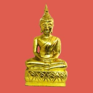 Thai Buddha Carved Sacred Wood Gold Gilt Laos Maditating Antique Home Decorate