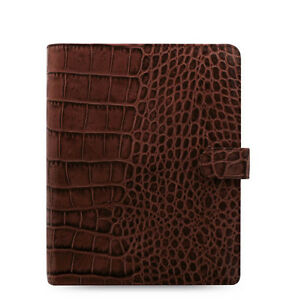 Filofax A5 Classic Croc Organiser Planner Diary Plan Chestnut Leather 026017