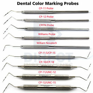 Dental Periodontal Color Coded Marking Probes Williams Cp 11 12 15 18 Michigan o