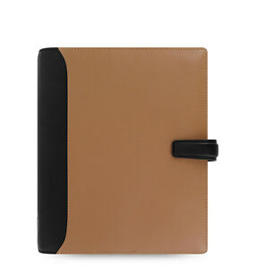 Filofax A5 Size Nappa Organiser Planner Diary Book Taupe Black Leather 025139
