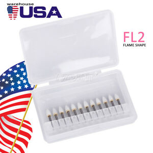 Dental Flame White Stone Polishing Fg Burs 12 pk Abrasion Cw1064 New