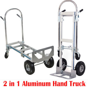 us Ship 2in1 Aluminum Hand Truck 770lbs Convertible Foldable Dolly 4 Wheel Cart
