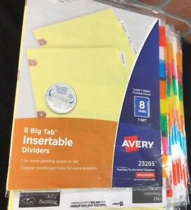 Avery Dennison Reinforced Edge Insertable Big Tab Dividers 25 Pkg Qty