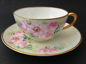 Antique Germany Hand Painted Cup And Saucer Pastel Green Pink Flowers Roses
