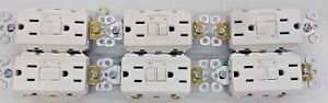 Lot Of 6 Pass Seymour 1597traw 15a Gfci Alarm Tamper Resistant Self Test White