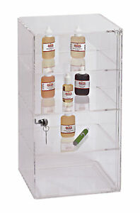 3 Removable Shelf Clear Acrylic Display Case Retail Jewelry Merchandise Lock Key