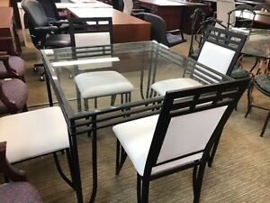 Glass Table W 4 Chairs Set