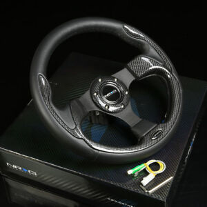 Nrg 320mm 6hole Pilota Steering Wheel Black Leather Carbon Fiber Pattern Inserts