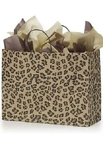 Paper Bags 50 Large Leopard Skin Retail Merchandise Shopping Cheetah 16 X 6 X 12