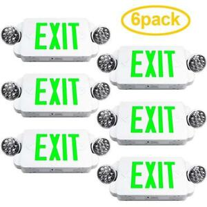 6 Packs Of Led Green Exit Sign Emergency Light Combo With Battery Back up