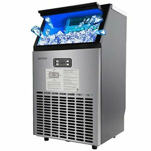 Rovsun Built in Stainless Steel Commercial Ice Maker Under Counter freestanding
