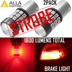 Alla Lighting Legal 1157 Red Flash Strobe Brake Light Bulb Dual Contact Filament