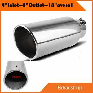 4 Inlet 8 Outlet 18inch Long Chrome Diesel Exhaust Tip Stainless Steel Bolt On
