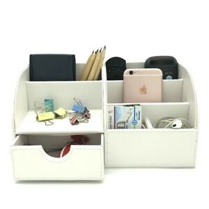 Desk Organizer Box White Desktop Business Card Pen Pencil Phone Storage Holder