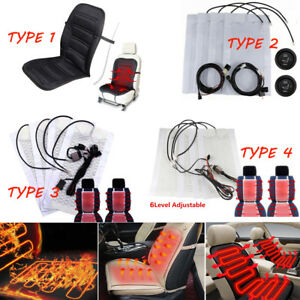 1 4pc Universal Carbon Fiber Car Heated Seat Heater Pad Kit High Low Temp Switch