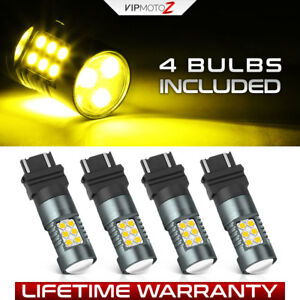 3157 T25 4 Pack 4157 3457 Ion Yellow Led Bulb Parking Drl Smd Turn Signal Lamp