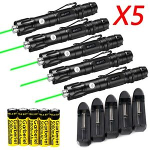 5x High Power 50miles 532nm 1mw Green Laser Pointer Lazer Pen Visible Beam Light