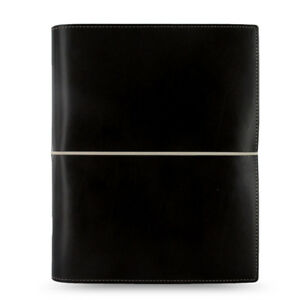 Filofax A5 Domino Organiser Planner Notebook Diary Book Black Leather Fashion