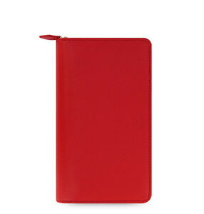 Filofax Saffiano Compact Zip Organiser Planner Diary Book Poppy Red 022534