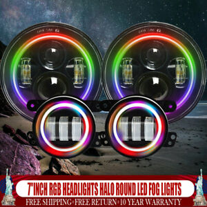 For Jeep Wrangler Jk 7 inch Headlights Halo Color Round Rgb Led Fog Lights