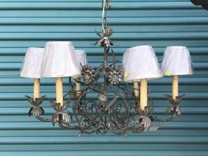 Vintage Italian Iron Chandelier Gilded Flowers Leaves New Silk Shades Wiring