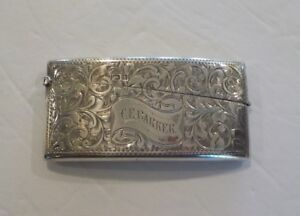 English Sterling Silver Engraved Calling Card Case With Cards C 1902