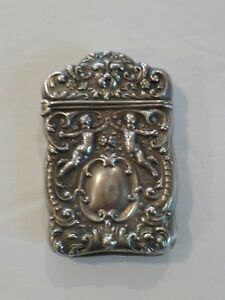 19th C Sterling Silver Match Safe Vesta Case Cherubs