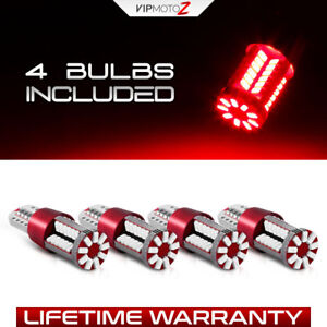 4pcs Red Led 168 T10 T15 921 912 Bulbs Trunk Tag License Plate High Stop Light