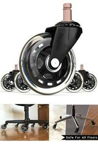 Office Chair Wheels 3 Replacement Rollerblade Rubber Casters 10mm 5 Set Black