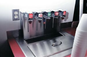 Concession Drop in 5 Head Soda Post mix Dispenser lecra flow With 80 Lb Ice Bin