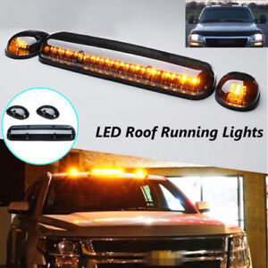 3 Led Smoke Cab Roof Running Amber Led Car Lights For Chevy Silverado 2002 2007