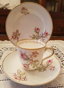 Vintage French Tea Cup Saucer Plate Trio China Hand Painted Floral Pink Roses