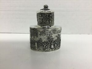 Exquisite Antique Silverplate Tea Caddy Barbour Silver 3227 Village Scene