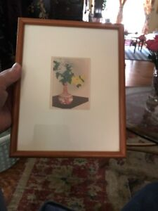Small Japanese Woodblock Shotei Vase With Flowers Framed Muller Collection