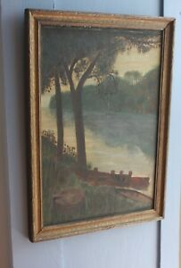 Maine Early 19th C Naive Folk Art Oil On Canvas Of Saltwater Estuary Framed