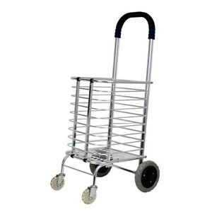 Evelyne Portable Folding Shopping Basket Cart Trolley Four Wheel Aluminum Alloy